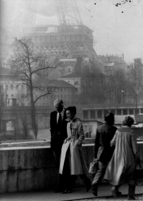 Hubert de Givenchy with Audrey Hepburn in Paris.
